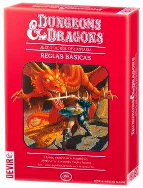 Caja roja de la cuarta edición de Dungeons & Dragons en la edición española de Devir