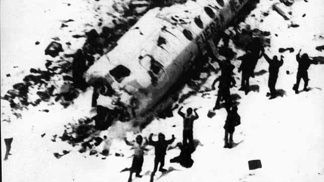 Fotografía tomada desde el primer helicóptero de rescate que los encontró.