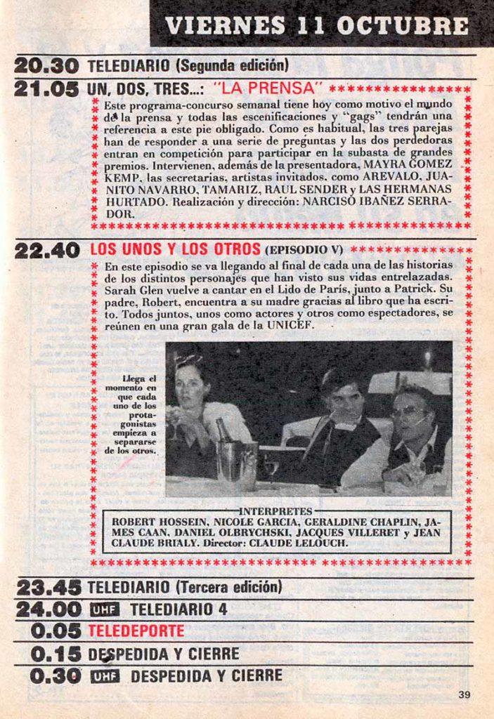 Un ejemplo de programación de Televisión en el Teleprograma de 1985